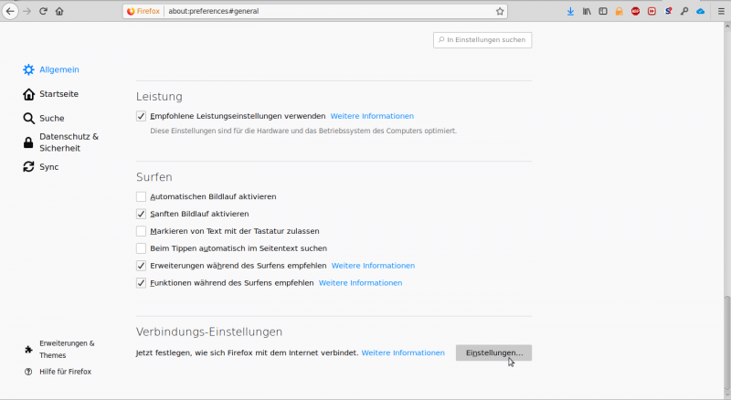 Picture: Firefox menuepoint settings